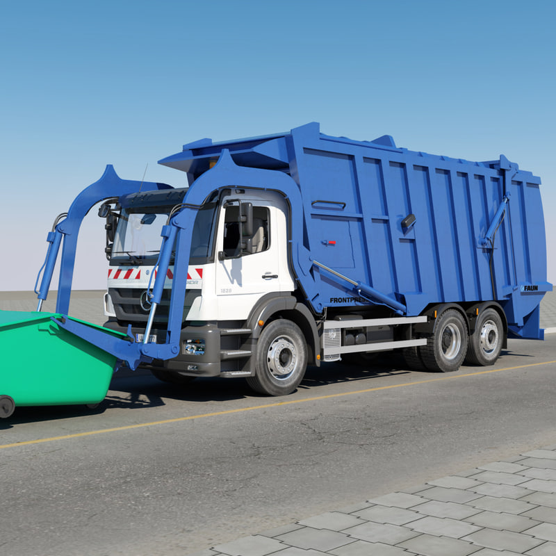 mercedes-benz garbage truck 3d ma
