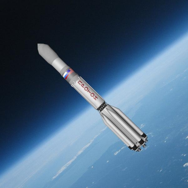 3d model proton space rocket