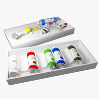 3d model of oil paint tubes