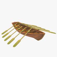 3d wooden life boat model