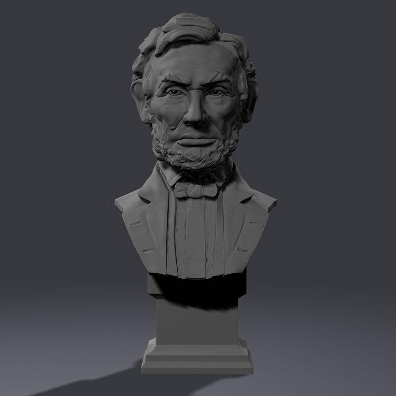 3d model abraham bust head