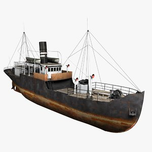 old steam ship 3d model