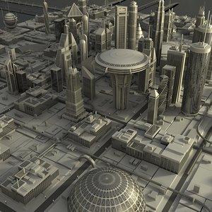 3d model futuristic cityscape