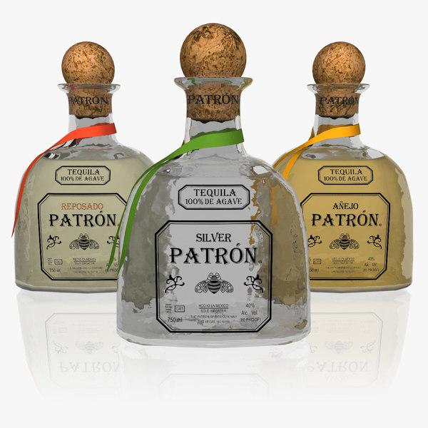 3d realistic set tequila liquor bottle