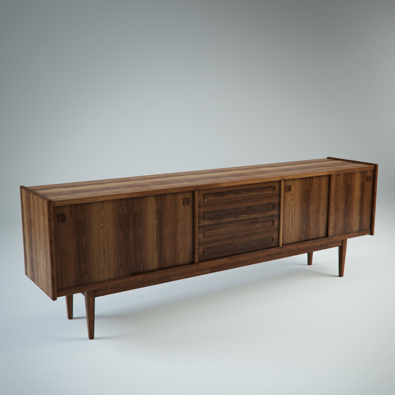 3d mid century vintage danish sideboard for Sideboard 3d