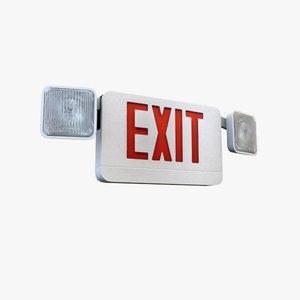 3d model emergency exit sign lighting