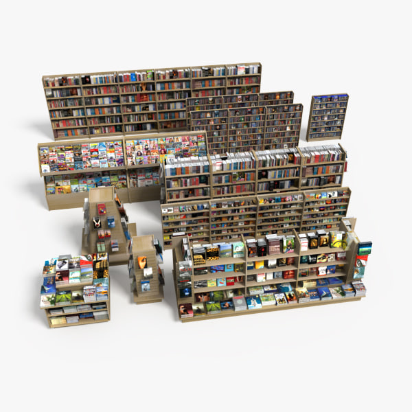 book store shelves 3d model