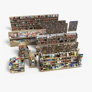 book store shelves 3d model