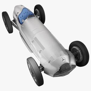 3d model mercedes-benz antique racing car