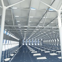 3d large architectural shed interior space