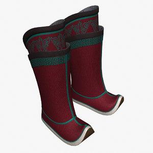 mongol boots 3d model