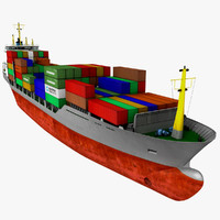 3d container ship