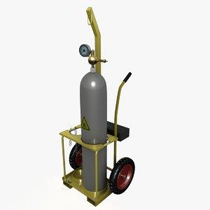 gas bottle trolley 3d obj