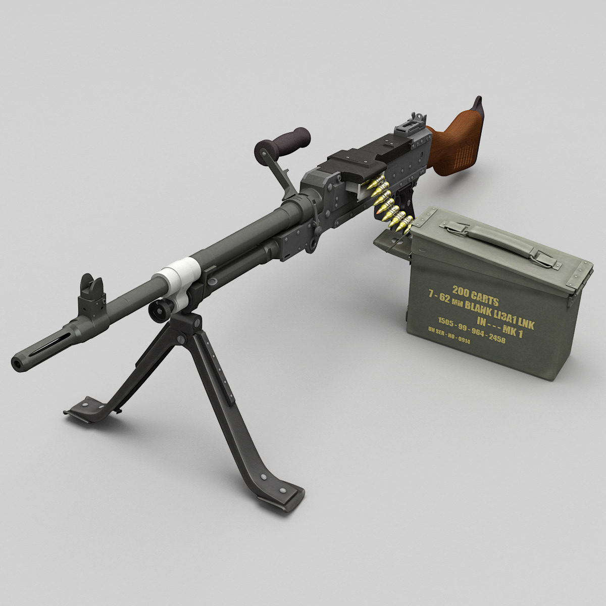 3d model of machine gun fn mag