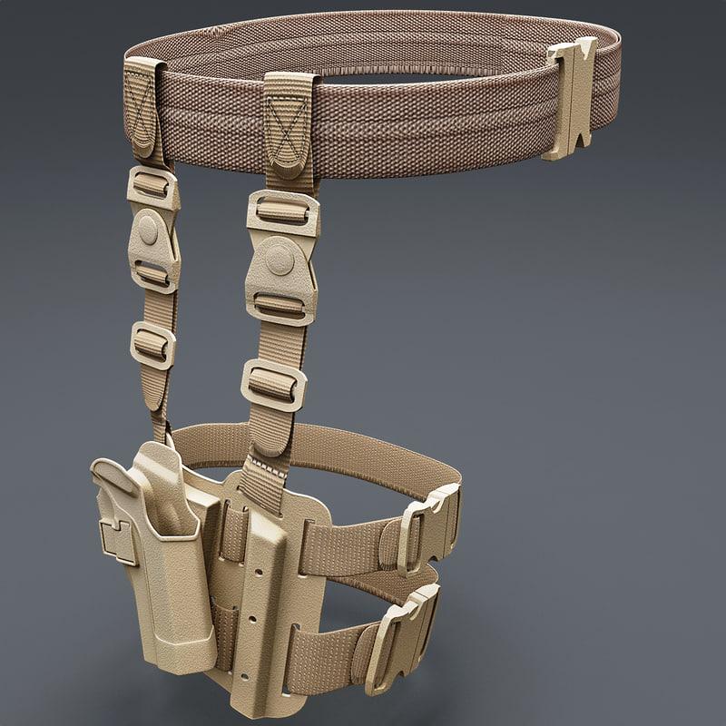 tactical serpa pistol holster 3d model