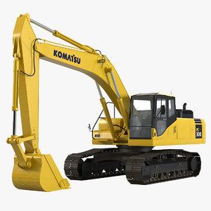 3d model komatsu pc300 hydraulic excavator