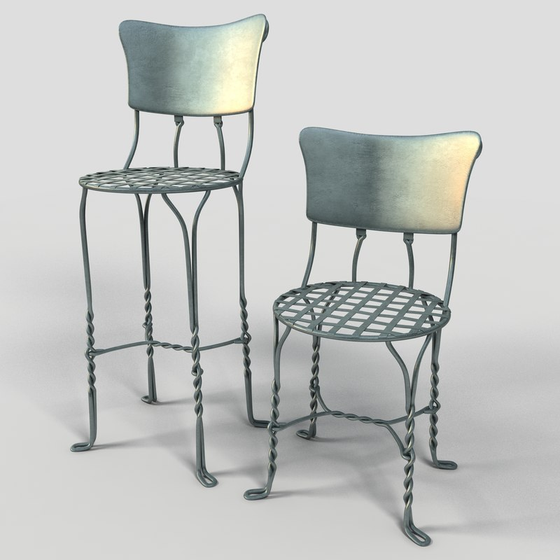 3d model iron cafe chair bar stool