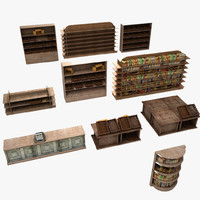 Wooden Store Stands Set