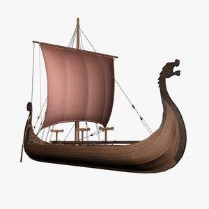 3d viking ship model