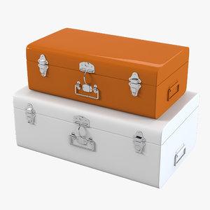 3d model of sleek metal trunk set