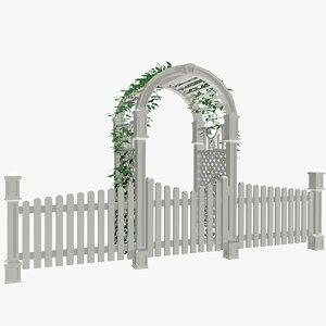 max white picket fence arbor