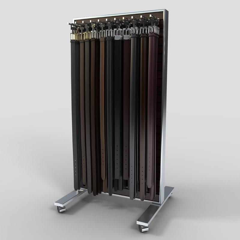3d belt rack display model