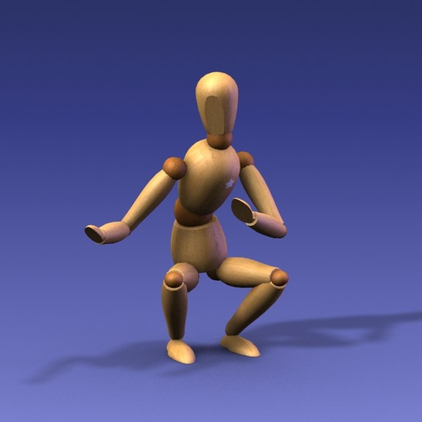 wood wooden doll 3d model