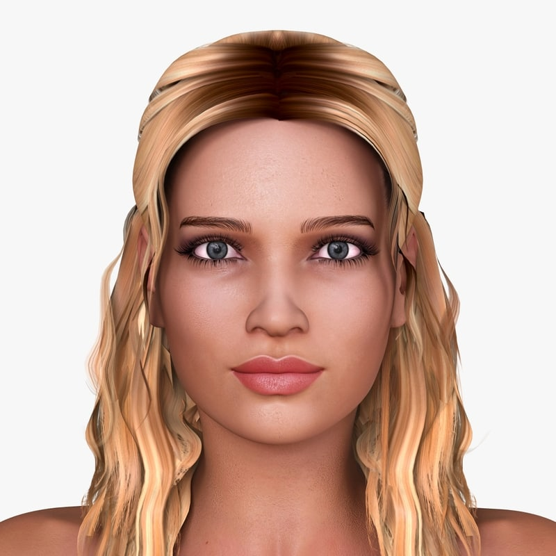3d model of european woman character nicole