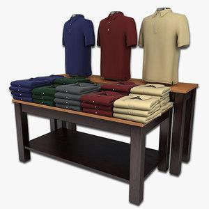 polo shirts table display 3d model