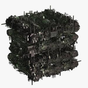 scifi industrial city cube 3d model