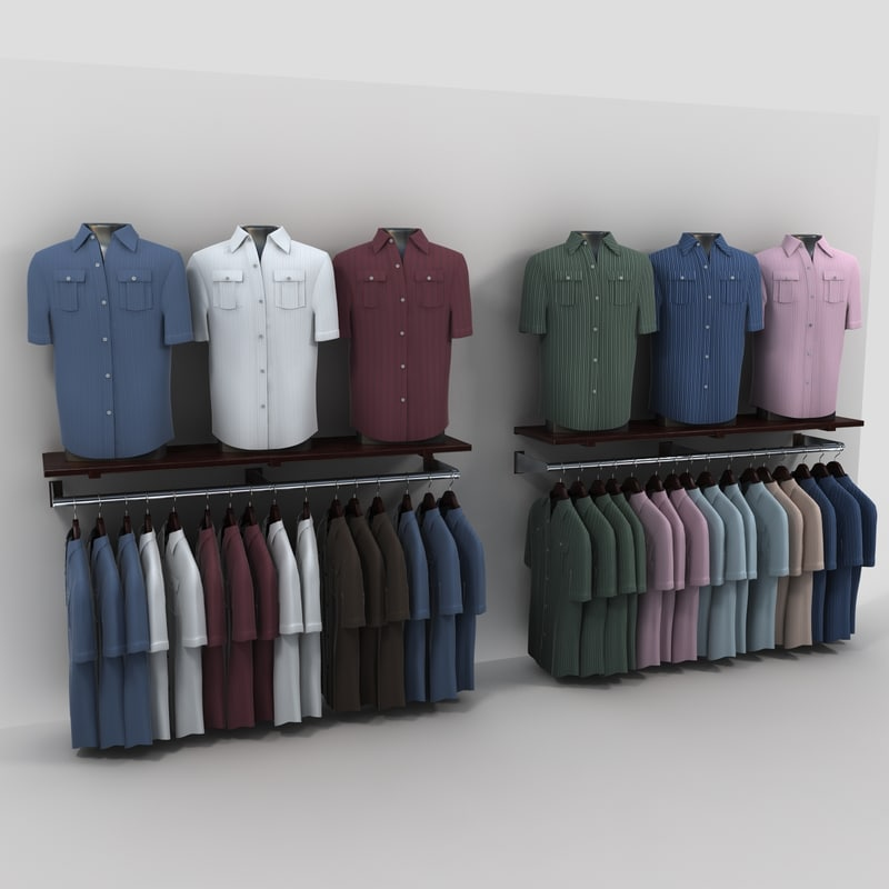 3d model of short sleeved shirt wall