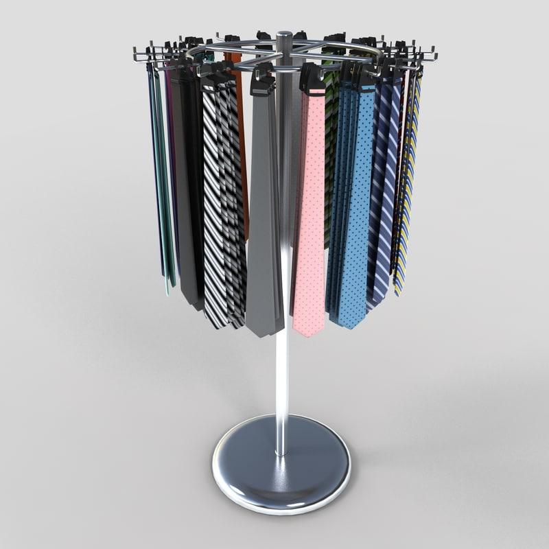 tie rack display 3d 3ds