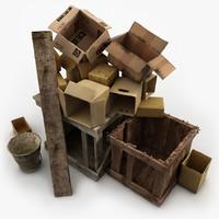 Paper Wooden Boxes Junk