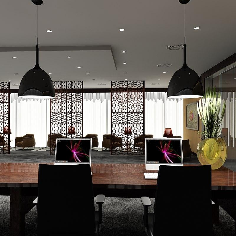 3ds max office reception scene