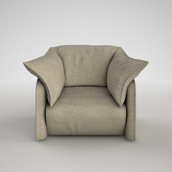 3ds max cassina armchair 380 la
