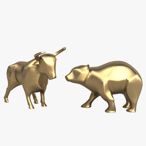 3d model bull bear sculpture