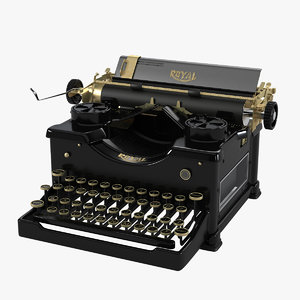 royal vintage typewriter 3d max