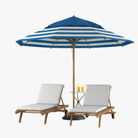 3d model sun lounger beach set