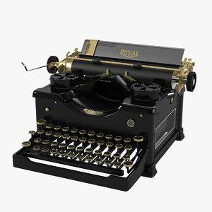 royal vintage typewriter 3d max
