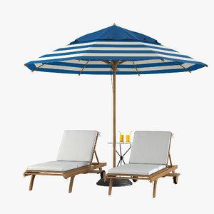 3d model sun lounger beach set