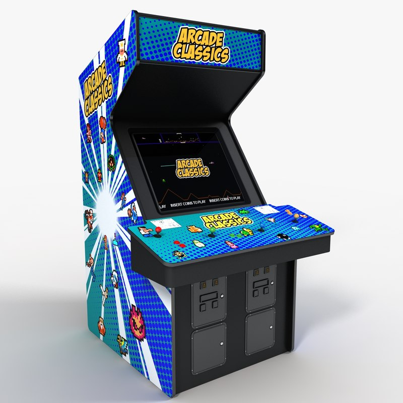 3d stand arcade 4 player model