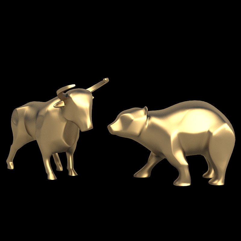 3d model bull bear sculpture