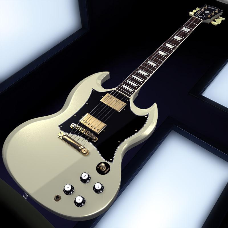 gibson sg ivory guitar 3d max