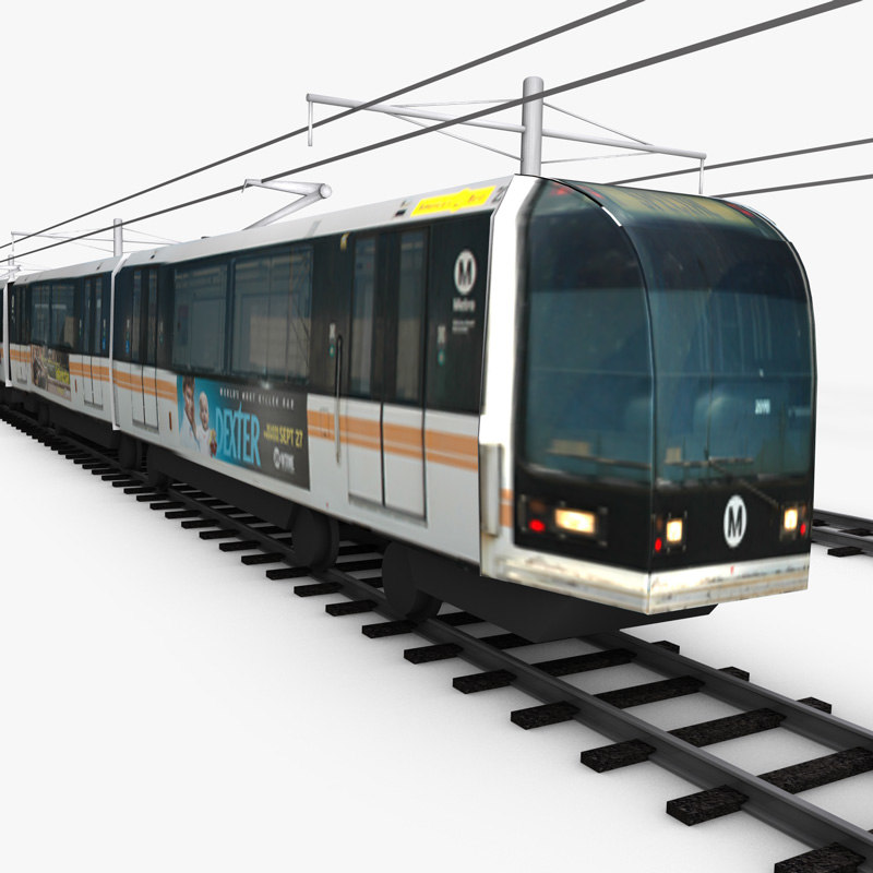 car light rail passenger train 3d 3ds