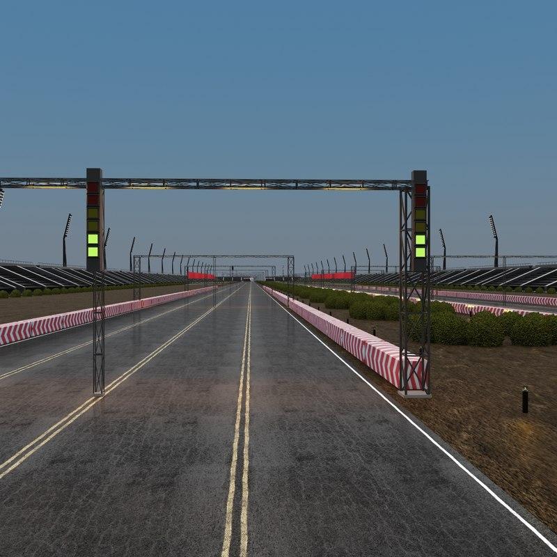 3d drag race stadium model