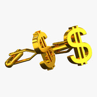 3d model dollar sign cufflinks