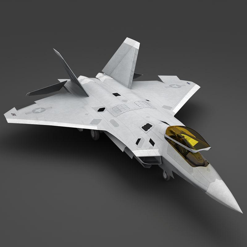 f-22 raptor v2 rigged 3d max