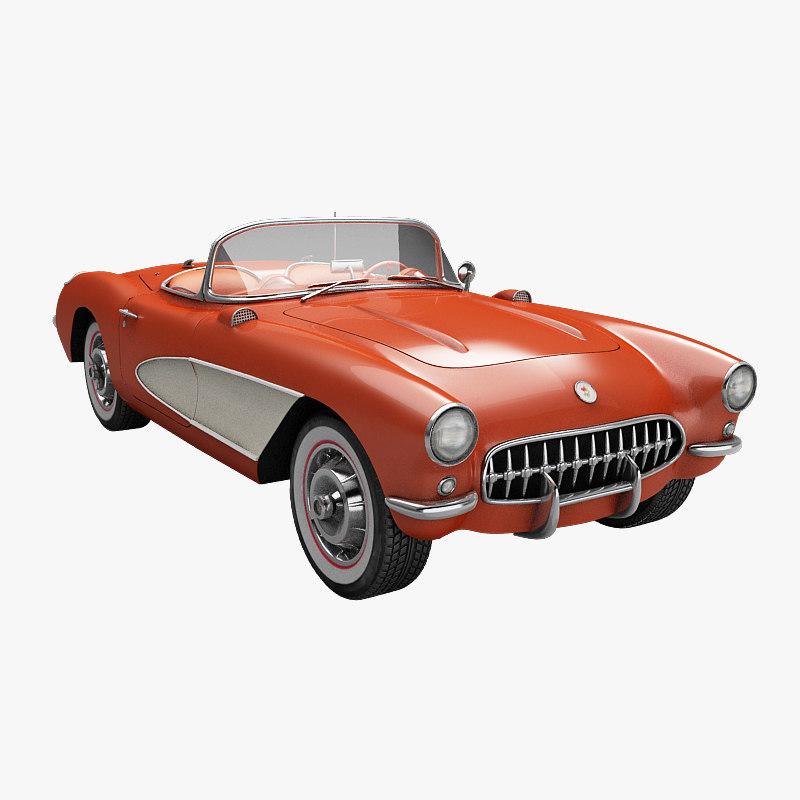 3d model 1957 chevrolet corvette car