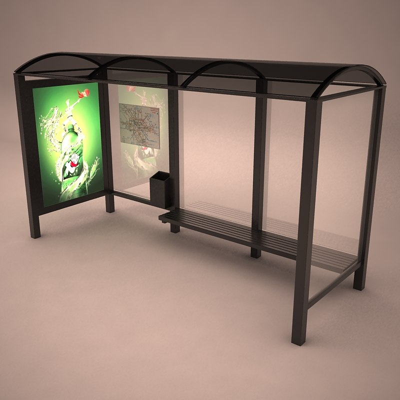 bus shelter 3d 3ds