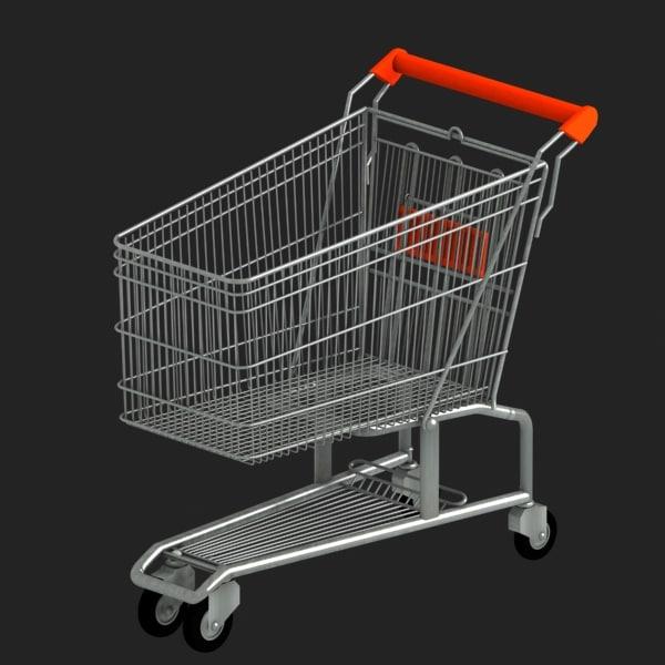 shopping trolley 3d obj
